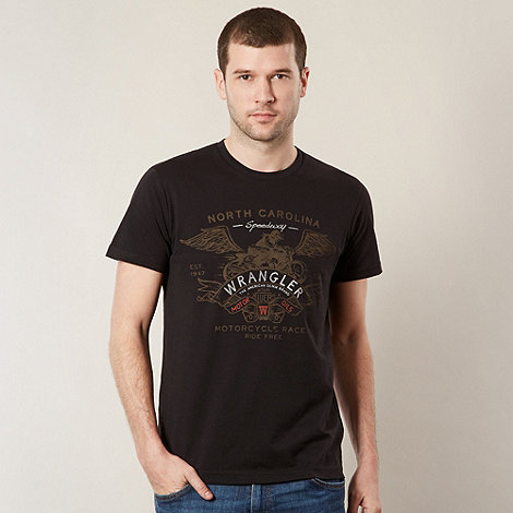 Wrangler - Black motorcycle logo print t-shirt