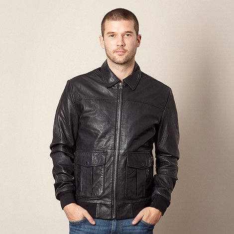 Wrangler - Black leather bomber jacket