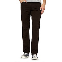 Wrangler - Texas stretch twill brown straight leg jeans