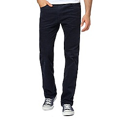 Wrangler - Navy water resistant Arizona straight leg cord trousers