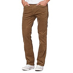 Wrangler - Tan water resistant Arizona straight leg cord trousers