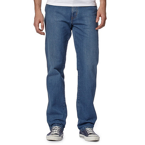 Wrangler - Big and tall Texas stretch savage blue mid wash straight leg jeans
