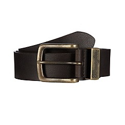 Wrangler - Dark brown leather metal keeper belt