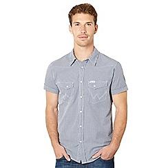 Wrangler - Navy mini gingham checked shirt
