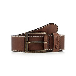 Wrangler - Big and tall light brown contrast stitched leather belt
