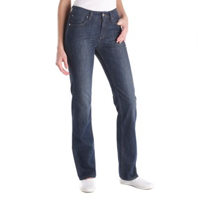 Dark blue high waist straight fit jeans