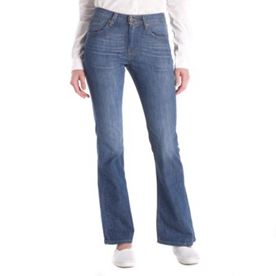 Blue high waist bootcut clear jeans