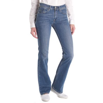Blue high waist bootcut moonlight jeans
