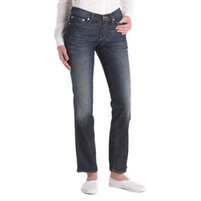 Navy straight fit ripless jeans