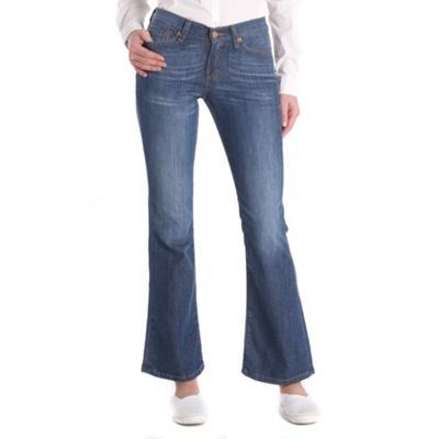 Blue bootcut clear blue jeans