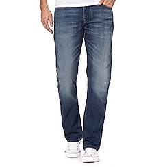 Lee - Big and tall Brooklyn blue stone used staight leg stone wash jeans