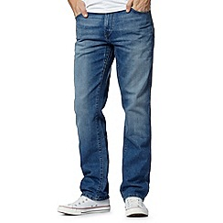 Wrangler - Texas stretch el duro blue mid wash straight leg jeans