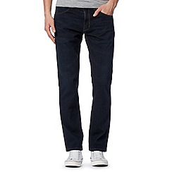 Wrangler - Greensboro rinsed dark blue straight leg jeans