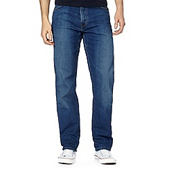 Wrangler - Texas tough out blue dark wash straight leg jeans