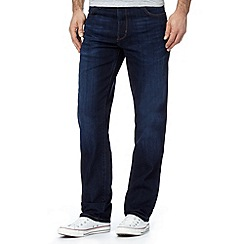 Wrangler - Texas tough talking dark blue rinse straight fit jeans