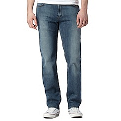Wrangler - Big and tall Texas blue relaxed fit mid wash jeans