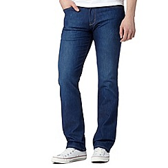 Wrangler - Arizona 'CoolMax' haai there blue straight leg mid wash jeans