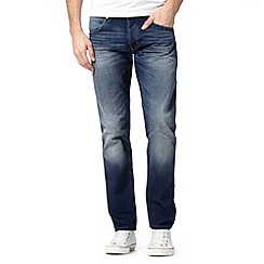 Wrangler - Colton blue all over blue mid wash tapered leg jeans