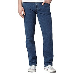 Wrangler - Texas mid blue relaxed fit raw wash jeans