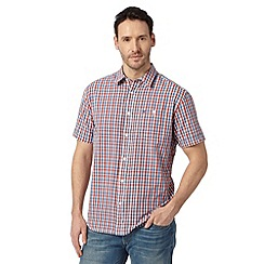 Wrangler - Big and tall red mini checked short sleeved shirt