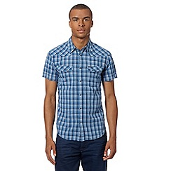 Wrangler - Big and tall big and tall blue textured checked shirt