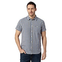 Wrangler - Navy one pocket mini grid shirt