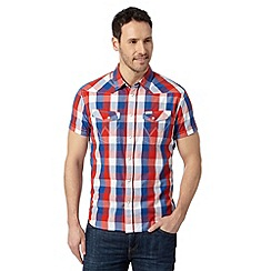Wrangler - Big and tall white large checked short sleeved shirt