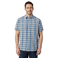 Wrangler - Big and tall blue textured check print shirt