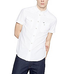 Wrangler - Big and tall white checked short sleeved shirt