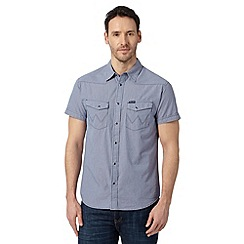 Wrangler - Blue tiny western checked shirt