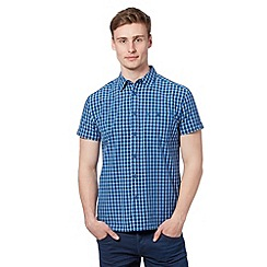 Wrangler - Big and tall blue block checked short sleeved shirt