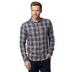 Wrangler - Blue checked slim fit shirt