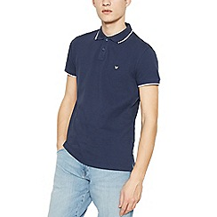 Wrangler - Navy tipped pique polo shirt