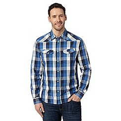 Wrangler - Blue western large checked shirt