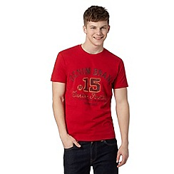 Wrangler - Big and tall red 'Denim Brand' print t-shirt