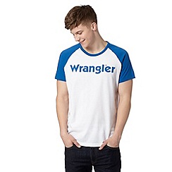 Wrangler - Big and tall white logo raglan t-shirt