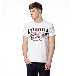 Wrangler - White 'Ready to Ride' print t-shirt