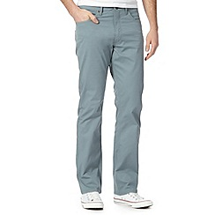 Lee - Big and tall pale blue twill straight leg trousers