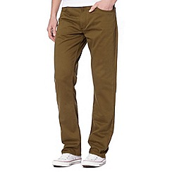 Lee - Brooklyn olive sateen trousers