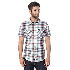 Lee - Blue checked pocket short sleeved slim fit shirt