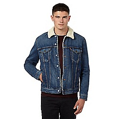 Levi's - Blue denim stonewash borg trim jacket