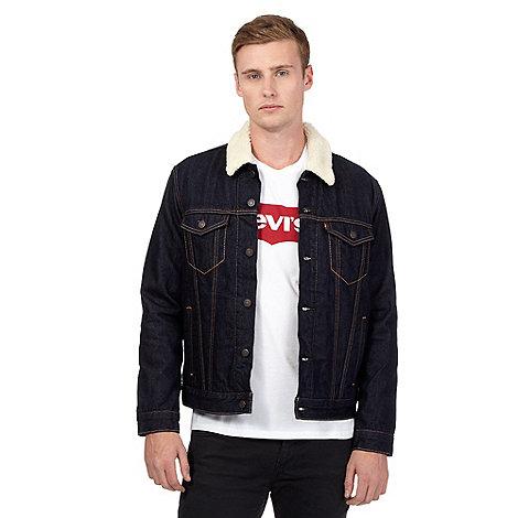 Levi's Dark blue borg denim jacket | Debenhams