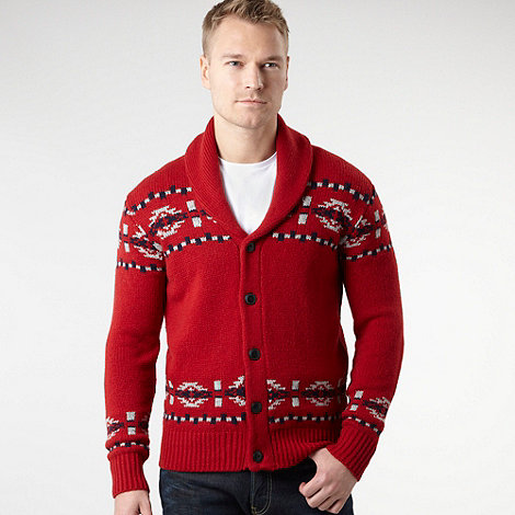 Wrangler - Red Folk button knitted cardigan