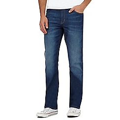Wrangler - Big and tall blue 'coolmax' mid wash regular fit jeans
