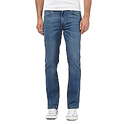 Wrangler - Blue stretch straight leg raw jeans