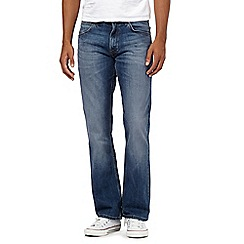 Wrangler - Jacksville mid blue wash water resistant bootcut jeans