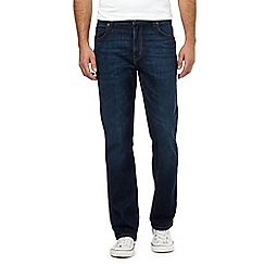Wrangler - Big and tall Texas dark blue wash stretch straight jeans
