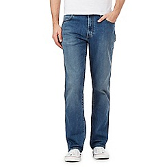 Wrangler - Big and tall texas blue mid wash regular fit jeans