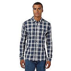 Wrangler - Big and tall blue checked long-sleeved flannel shirt