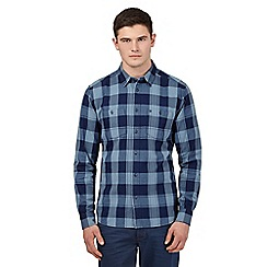 Wrangler - Big and tall blue buttoned check shirt